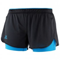 SALOMON - AGILE 2IN1 SHORT W BLACK/BLITHE - WOMEN